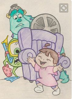 Monster's, Inc. need to draw Disney Character Drawings, Cute Disney Drawings, Disney Sketches, Cool Art Drawings, Pencil Art Drawings, Art Drawings Sketches, Easy Drawings, Drawing Disney, Drawing Cartoon Characters