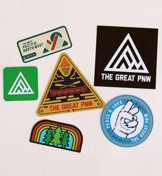 "6 Sticker Pack - 4"" Triangle, canoe sticker - 3.5x3.5"" Black logo sticker - 2"" Green logo sticker - 3"" Happy PNW trees sticker - 3"" Grizzly peace sticker - 3"" Upper Left, USA sticker These stickers ar"