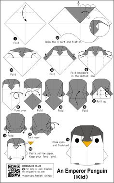 3d Paper, Origami Paper, Paper Crafts, Diy Crafts, Crochet Bookmark Pattern, Crochet Bookmarks, Cute Origami, Origami Easy, Origami Penguin