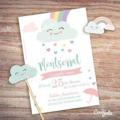 Rainbow Rain of Love. Rainbow First Birthday, Rainbow Theme, Rainbow Baby, 1st Birthday Parties, Birthday Decorations, Baby Shower Decorations, Birthday Invitations, Shower Invitations, Rain Baby Showers