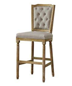 Beige Julie French Cottage Linen Oak Barstool by Baxton Studio #zulily #zulilyfinds