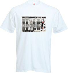 8f2be21b9b8 ENGLAND RUGBY FAN T SHIRT 100% WIN RATE THE PERFECT YEAR 2016 T SHIRT FOTL  Mens Super Premium White T-Shirt - Size XXXL