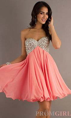 Short Strapless Party Dress by Betsy and Adam at PromGirl.com