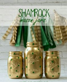 Easy deco. Ball jars, metallic gold spray paint, green paint & small detail paint brush.
