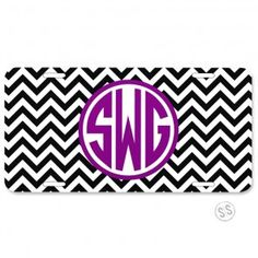 License Plate *Chevron* - Drive around in style with one of our personalized or monogrammed license plates. We have lots of pattern and color choices to match your car. Don't forget about our matching trailer hitches for the back! We can add a monogram, name or even a saying such as Cheer Mom or Go Gators!