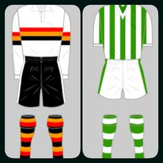 Bradford Park Avenue home kits for 1935-36 and 1957-58.