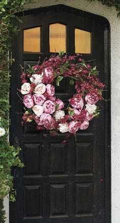 Flaunting fresh shades of blush, pink and plum, the Peony and Cherry Blossom Wreath heralds spring like no other. Spring Wreaths, Spring Front Door Wreaths, Summer Wreath, Holiday Wreaths, Cherry Blossom Bouquet, Cherry Blossom Decor, Pink Wreath, Front Door Plants, Front Door Decor