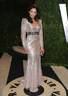 Mac Duggal at the 2013 Vanity Fair Oscar Party - Style Crush: Paula Patton - Photos African American Beauty, Paula Patton, Vanity Fair Oscar Party, Style And Grace, Red Carpet Looks, Gold Dress, Red Carpet Fashion, Party Fashion, Evening Dresses
