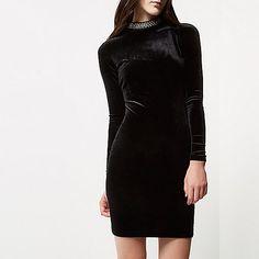 Black velvet jewelled turtleneck mini dress - bodycon dresses - dresses - women