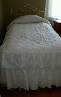 JC Penney Home Collection White Double Ruffle Twin Eyelet  Bedspread #JCPENNEY #CottageUS $34.99