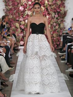 It is not knitted, but it is possible to crochet a similar one ;) Spring 2015 LOOK 49 Black silk faille and ivory broderie anglaise silk organza gown $7990
