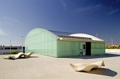 Image 1 of 26 from gallery of Cultural and Social Center in Carrús / Julio Sagasta + Fuster Arquitectos. Photograph by Bruno Almela Skyline, Cultural Center, Alicante, Architecture Design, Spain, Shed, Outdoor Structures, Culture, World