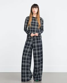 CHECK TROUSERS - Wide - Trousers - WOMAN | ZARA United States