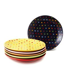 Take a look at this Colored Dot Dessert Plate Set by Yedi Houseware on #zulily today!