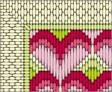 Stitch a Valentine decor piece for your home, or as a gift. The project works up quickly in long stitch, with a touch of Hungarian stitch around the borders. A matching medallion pattern is also included.: Long Stitch Hearts Stitch Detail