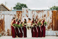 Romantic Downtown Lakeland Wedding on Kentucky Avenue | Romantic Industrial Wedding | Backless maroon bridesmaid dresses