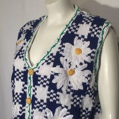 Blue and White Gingham Daisy Flower Sweater Vest Eagles Eye Large L UGLY CHRISTMAS SWEATER by UglySweaters4U on Etsy