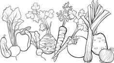 Printable coloring pages with a Thanksgiving theme. Turkeys, Pilgrims, Native Americans, Food, Fruit and so much more. Vegetable Coloring Pages, Coloring Book Pages, Printable Coloring Pages, Black And White Cartoon, Clipart Black And White, Thanksgiving Coloring Pages, Coloring Sheets For Kids, Free Coloring, Line Drawing