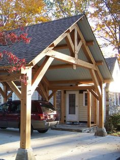 This wood carport is a very beautiful house decoration. More wooden carports at . This wood carport is a very beautiful house decoration. Wooden Carports, Carport Garage, Wood Carport Kits, Pergola Carport, Carport Plans, Detached Garage, Carport Designs, Home Remodeling, Beautiful Homes