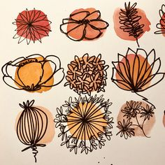 Develop your creativity: the exercise of 100 flowers - Lettres & Co. - Develop your creativity: the practice of 100 flowers – Lettres & Co. Art Floral, Doodle Drawings, Doodle Art, Ballpoint Pen Drawing, Unique Drawings, Arte Sketchbook, Sketchbook Ideas, Drawing For Beginners, Art Inspo