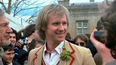 Peter Davison and Valentine Dyall (left) at Longleat in April 1983.