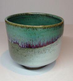 Small tea bowl, copper chun and white glaze, Annie Jennings