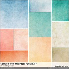Canvas Color Mix Paper Pack No. 17 textured solids backgrounds in a palette of orange blues and browns #designerdigitals