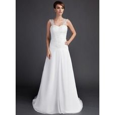 [US$ 162.99] A-Line/Princess Sweetheart Court Train Chiffon Wedding Dress With Ruffle Lace Beading (002000061)