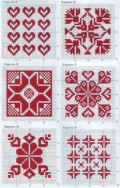 Søte mønstre som like gjerne kan brukes til broderi som til fair isle og strikking med perler.