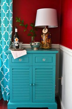 Trash to treasure - night table repurposed in the dining room. Paint color: Behr Teal Zeal
