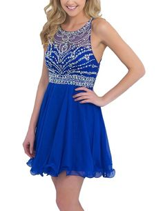 SeasonMall Women's Short Prom Dresses A Line Chiffon Blue Homecoming Dresses Size 0 US Dark Royal Blue