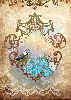 BLUE SPRING  r29  Kunstdruck Digiprint   von Vintage Prints auf DaWanda.com