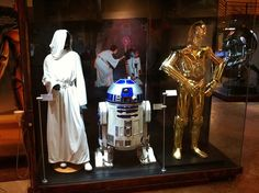 Princess Leia, R2-D2, C-3P0 - Star Wars: Where Science Meets Imagination  Costumes of Princess Leia, R2-D2, and C-3P0 at the Star Wars: Where Science Meets Imagination exhibit at Exploration Place in WIchita, KS.