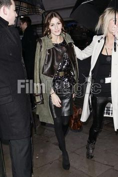 Olivia Palermo wearing Mulberry Dark Oak Leopard Print Alexa Bag, KG by Kurt Geiger Eleanor Pumps, Tibi Jacket, Tibi leather skirt, Tibi coat, Tibi belt,  Olivia Palermo Out in London February 23 2010