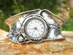 Handcrafted 925 Sterling Silver Watch, Cuff Bracelet, Pearl, Unique Design by Poran Artistic Jewelry, Made In Israel...WOW