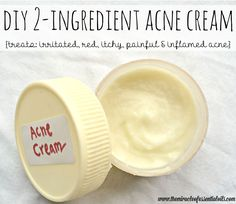 Learn how to make your own homemade cream for acne with tea tree oil and only one other ingredient! This acne cream is all-natural, kills acne germs, soothes redness