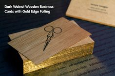 Dark Walnut Wooden Business Cards with Gold Edge Foiling. #jukeboxprint