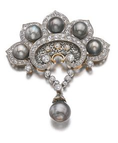 [DETAIL/ BROOCH] - NATURAL PEARL AND DIAMOND PARURE, LATE 19TH CENTURY Comprising: a necklace designed as a line of natural pearls of grey and cream tints measuring from 5.25 to 10.70mm, accented with circular-cut diamonds, suspending a drop-shaped natural pearl