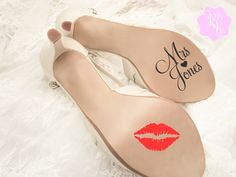 Check out this item in my Etsy shop https://www.etsy.com/uk/listing/258090210/wedding-shoes-decal-personalized-name