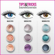 Bare Minerals eye-makeup tips & tricks chart. Purple is the best pigment for green eyes. pinks for blues and blues for browns Bare Minerals eye-makeup tips & tricks chart. Purple is the best pigment for green eyes. pinks for blues and blues for browns Eye Makeup Glitter, Eye Makeup Tips, Makeup Hacks, Makeup Geek, Makeup Eyeshadow, Eyeshadow Pencil, Hair Makeup, Purple Makeup, Mineral Eyeshadow
