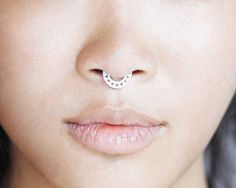 Septum Ring - Sterling Silver Nose Ring - Triangles Septum Ring - Septum Clicker    This septum ring is designed to fit snug against your nose.