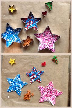 Hama beads @ 200C in the oven. Looks really cool in big shapes. Doesn't work with small ones, as you can see...