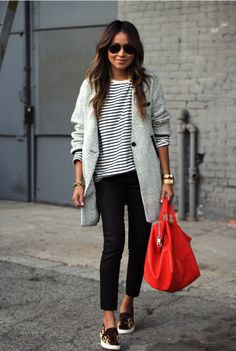 Striped Shirt, Grey Coat