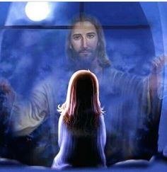 Little girl looking on to Jesus in the night. So sweet! Christian Images, Christian Art, Pictures Of Jesus Christ, Jesus Art, Bride Of Christ, Prophetic Art, Biblical Art, Jesus Is Lord, I Love Jesus