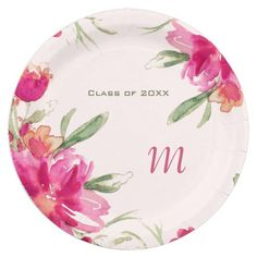 Shabby chic Graduation Party. Romantic Watercolor Flower Painting Design Graduation Party Paper Plates with personalized Graduate's Monogram and text. Matching Graduation Party Invitations, Graduation Postage Stamps , Graduation Address Labels , Graduation Party Favors and other Graduation Party Supplies and Gifts available in the Graduation Category of the artofmairin store at zazzle.com