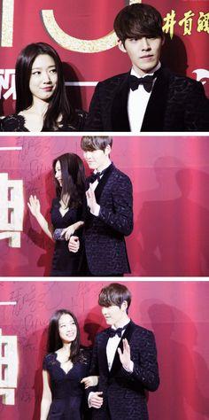 Park Shin Hye & Kim Woo Bin at the 2013 Anhui TV Drama Awards in Beijing ♡ #Kdrama