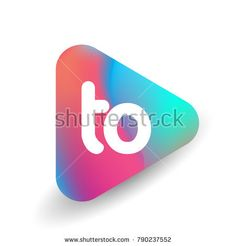 Letter TO logo in triangle shape and colorful background, letter combination logo design for business and company identity.