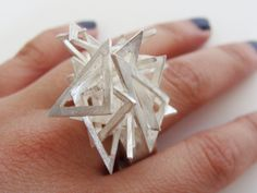 "Ring | RENEE CHAN-USA. 'Triangles'. Sterling silver. ""Renée Chan is a graduate of Rhode Island School of Design where she majored in Graphic Design"""