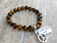 Personalized Gemstone Bracelet Tigers Eye Peace Sign Charm & Custom Engraving Silver Tag Mens Bracelet I Love You Bracelet Yoga Gift by Braceletshomme