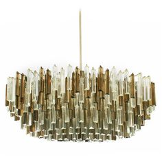Large Oval Camer Smoked Glass Ceiling Fixture for Venini